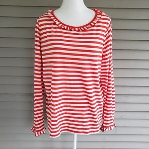 Boden Red & White Striped Ruffle Collar Blouse XL